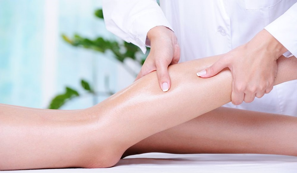 Massaging of the human leg